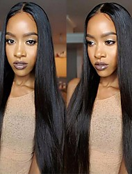 cheap -Brazilian Hair Straight One Pack Solution / Human Hair Extensions / Hair Weft with Closure Human Hair Weaves Soft / Silky / Hot Sale Natural Black Human Hair Extensions Women's