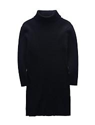 baratos -Menina de Vestido Diário Feriado Sólido Outono Inverno Algodão Poliéster Manga Longa Fofo Activo Preto