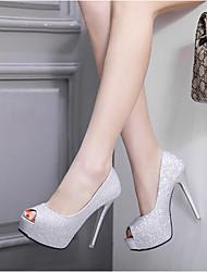 preiswerte -Damen Schuhe PU Sommer Pumps High Heels Stöckelabsatz Peep Toe Paillette für Draussen Schwarz Silber