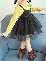 abordables -Robe Fille de Quotidien Sortie Couleur Pleine Conception spéciale Fleur Coton Polyester Maille Printemps Automne Manches Longues Mignon