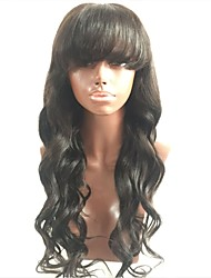cheap -Virgin Human Hair Full Lace Wig Malaysian Hair / Body Wave Wavy Wig Layered Haircut 130% For Black Women / With Bangs Black Women's Short / Long / Mid Length Human Hair Lace Wig