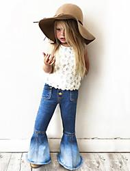 abordables -Couleur Pleine Fille de Quotidien Sortie Polyester Printemps Eté Robe Mignon Chic de Rue Bleu