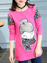 preiswerte -Mädchen T-Shirt Solide Cartoon Design Baumwolle Frühling Herbst Langarm Einfach Niedlich Zeichentrick Schwarz Rosa Fuchsia