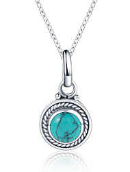 cheap -Women's Turquoise S925 Sterling Silver Pendant Necklace - Vintage Circle Necklace For Party / Evening Gift