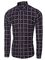 cheap -Men's Business Shirt-Plaid