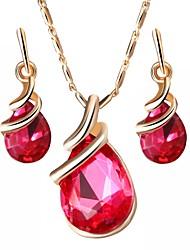abordables -Femme Cristal Autrichien Goutte Ensemble de bijoux 1 Collier / Boucles d'oreille - Grande occasion / simple Violet / Rouge / Bleu Set de