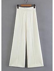 abordables -Mujer Alta cintura Algodón Chinos Pantalones - Un Color