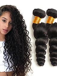 baratos -3 pacotes Cabelo Peruviano Ondulado Cabelo Humano Extensões de Cabelo Natural Tramas de cabelo humano extensão / Venda imperdível Côr Natural Extensões de cabelo humano Todos
