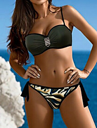 abordables -Femme A Bretelles Bandeau Bikinis - Imprimé, camouflage Slip Brésilien