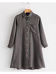 Недорогие -Жен. Плиссировка Рубашка Деловые Винтаж Однотонный