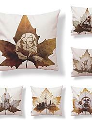 abordables -6 pcs Tissu Coton/Lin Housse de coussin, Géométrique arbres/Feuilles Conception spéciale Créatif Haute qualité