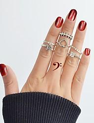 Недорогие -Ring Set - 5 шт. Круглый Цветы Сердце Классический Мода Серебряный Кольцо Назначение Повседневные Свидание