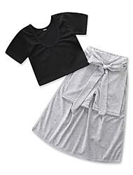 Недорогие -Дети Дети (1-3 лет) Девочки Однотонный С короткими рукавами Набор одежды