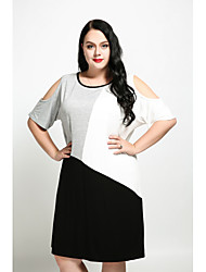 cheap -Cute Ann Women's Plus Size Basic Shift T Shirt Tunic Dress - Color Block Patchwork