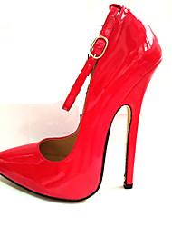 Недорогие -Жен. Обувь Полиуретан Весна / Осень Туфли лодочки Обувь на каблуках На шпильке Заостренный носок Пряжки Белый / Черный / Красный