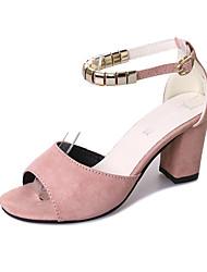 baratos -Mulheres Sapatos Cashmere Verão Conforto Sandálias Salto de bloco Ponta Redonda para Preto Verde Rosa claro