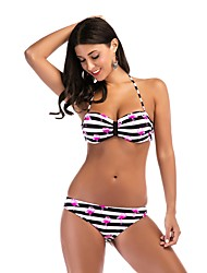 preiswerte -Damen Boho Tankinis - Ringer-Rücken-Kleid mit Schnürung, Gestreift Einfarbig Halter Schulterfrei Tiefer Ausschnitt Tanga-Bikinihose