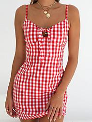 abordables -Femme Sortie Mince Trapèze Robe - Imprimé, Géométrique Taille haute Sans Bretelles Au dessus du genou Noir