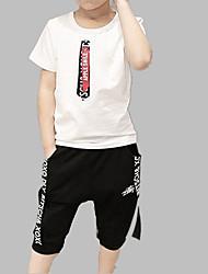 Недорогие -Мальчики Повседневные Спорт С принтом Набор одежды, Хлопок Весна Лето С короткими рукавами Активный Белый Розовый
