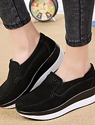 abordables -Femme Chaussures Cuir Nubuck Printemps Automne Confort Mocassins et Chaussons+D6148 Creepers pour Noir Gris Rouge