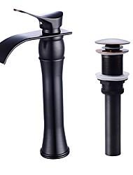 Недорогие -Ванная раковина кран - Водопад Начищенная бронза Живопись черный По центру Одной ручкой одно отверстие