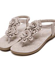 Недорогие -Жен. Обувь Полиуретан Весна / Лето Удобная обувь / Оригинальная обувь Сандалии На плоской подошве Оксфорды Черный / Миндальный