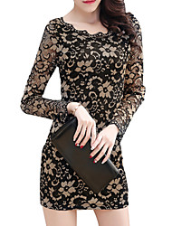 cheap -Women's Street chic Bodycon Sheath Dress - Solid Colored, Lace