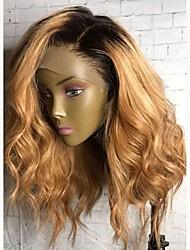 cheap -Virgin Human Hair Lace Front Wig Malaysian Hair Wavy Blonde Wig Layered Haircut 130% Ombre Hair / Dark Roots Blonde Women's Short / Long / Mid Length Human Hair Lace Wig