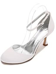 preiswerte -Damen Schuhe Satin Frühling Sommer Komfort Hochzeit Schuhe Kitten Heel-Absatz Peep Toe für Hochzeit Party & Festivität Schwarz Silber
