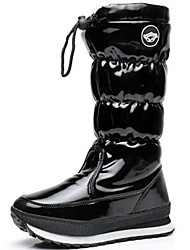 cheap -Women's Shoes Patent Leather Fall / Winter Snow Boots / Fashion Boots Boots Flat Heel Knee High Boots Black
