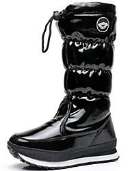 baratos -Mulheres Sapatos Couro Envernizado Outono / Inverno Botas de Neve / Botas da Moda Botas Sem Salto Botas Cano Alto Preto