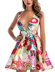 baratos -Mulheres Moda de Rua Evasê Vestido Floral Acima do Joelho