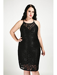 cheap -Cute Ann Women's Plus Size Club Street chic Slim Bodycon Sheath Dress - Solid Colored Lace Off Shoulder