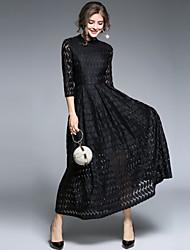 economico -Per donna Vintage Moda città Swing Vestito - Pizzo, Tinta unita Maxi