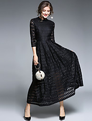 baratos -Mulheres Vintage Moda de Rua balanço Vestido - Renda, Sólido Longo