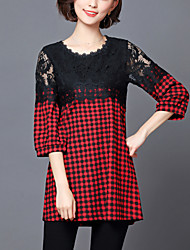 cheap -Women's Street chic Blouse-Check,Lace Patchwork