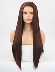 cheap -Synthetic Lace Front Wig Straight Layered Haircut Synthetic Hair Heat Resistant Dark Brown Wig Women's Long Lace Front Wig / Yes