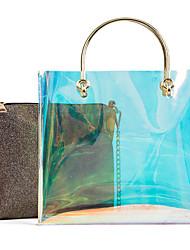 baratos -Mulheres Bolsas PVC / PU Conjuntos de saco 2 Pcs Purse Set Botões Arco-íris