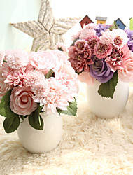 cheap -Artificial Flowers 8 Branch Wedding Flowers / Pastoral Style Roses / Camellia / Chrysanthemum Tabletop Flower