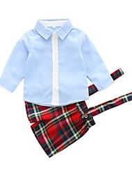 cheap -Baby Girls' Boys' Daily Solid Colored Plaid Clothing Set, Cotton Polyester Spring Summer Casual Long Sleeves Light Blue 90 80 95 70