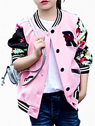 cheap -Girls' Party Jacket & Coat, Cotton Polyester Spring Fall All Seasons Long Sleeves Floral White Black Pink
