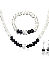 cheap -Jewelry Set - European, Fashion, Elegant Include Bangles / Drop Earrings / Choker Necklace Black For Wedding / Party