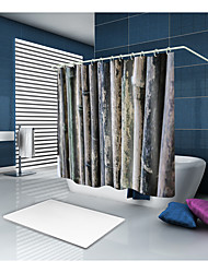 cheap -Shower Curtains & Hooks Casual Country Polyester Solid Colored Contemporary Machine Made Waterproof Bathroom