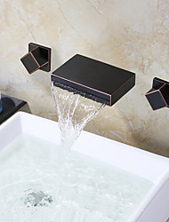 cheap -Bathroom Sink Faucet - Waterfall Oil-rubbed Bronze Wall Mounted Two Handles Three Holes