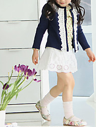 abordables -Pull & Cardigan Fille Couleur Pleine Coton Polyester Hiver Printemps Automne Manches Longues Fleur Bleu marine Rose