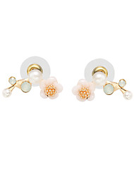 cheap -Women's Stud Earrings Cubic Zirconia Imitation Pearl Floral Sweet Imitation Pearl Zircon Alloy Flower Jewelry Gold Silver Daily Going out
