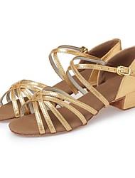 abordables -Fille Chaussures Latines Similicuir Talon Ruban Talon Bottier Personnalisables Chaussures de danse Argent / Rouge / Rose / Cuir