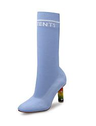 baratos -Mulheres Sapatos Tricô Cetim Elástico Outono Inverno Botas da Moda Botas Salto Agulha Dedo Apontado Botas Cano Alto para Escritório e