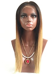 cheap -Remy Human Hair Lace Front Wig Wig Brazilian Hair Straight Layered Haircut 130% Density With Baby Hair / Natural Hairline Blonde Women's Short / Long / Mid Length Human Hair Lace Wig