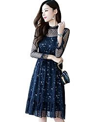 cheap -Women's Basic Cotton A Line Dress Lace High Waist